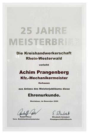 Urkunde 25 Jahre Meisterprüfung